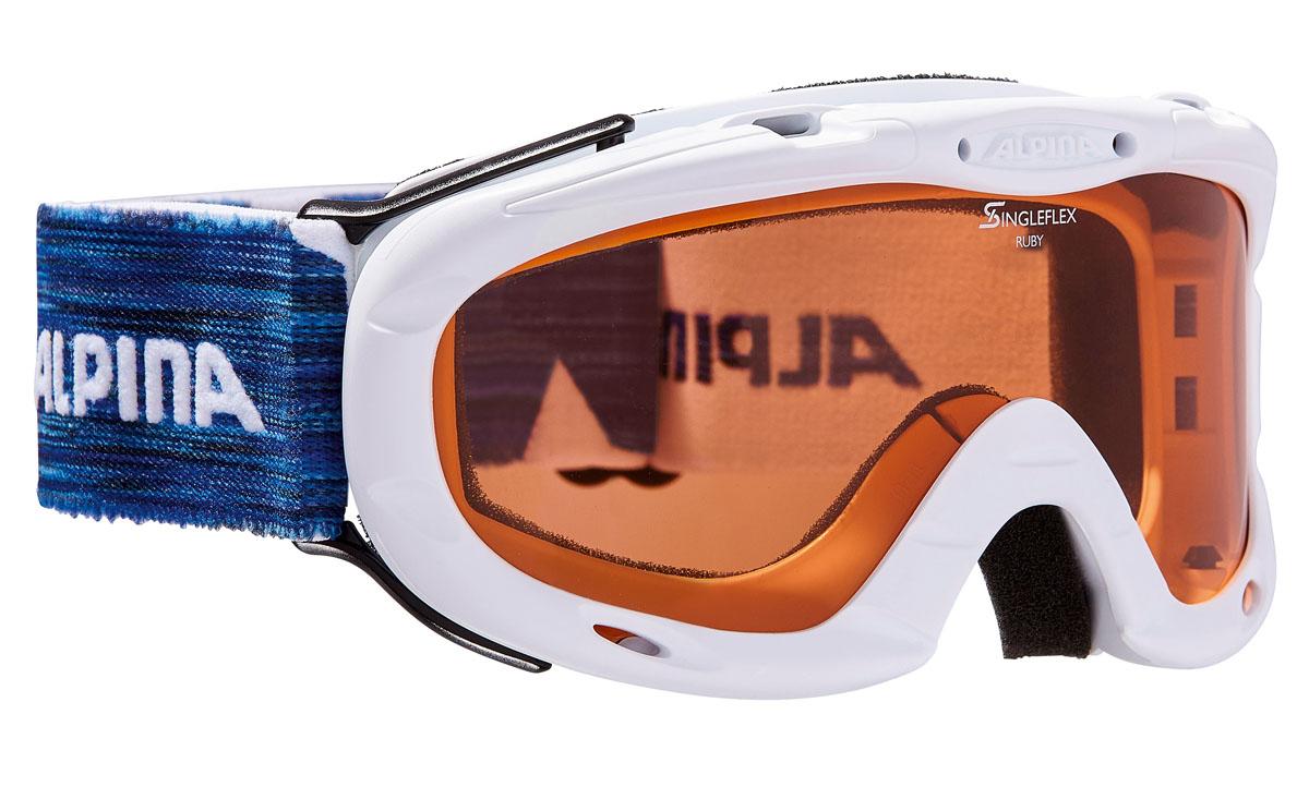 Очки горнолыжные Alpina Ruby S SH, цвет: белый, синий, желтыйA7050411Спортивная горнолыжная маска Alpina для детей и подростков обеспечивает высокую контрастность в любых погодных условиях, благодаря поляризационным фильтрам Quattroflex: 100% защита от УФ-А, -В, -С до 400 нм, устойчивые к появлению царапин, с антизапотевающим покрытием. Система вентиляции Turbo. Гибкая оправа. Система крепления: мягкая широкая регулируемая резинка. Маска идеальна для ношения со шлемом.Степень светопропускаемости: 43-80%.