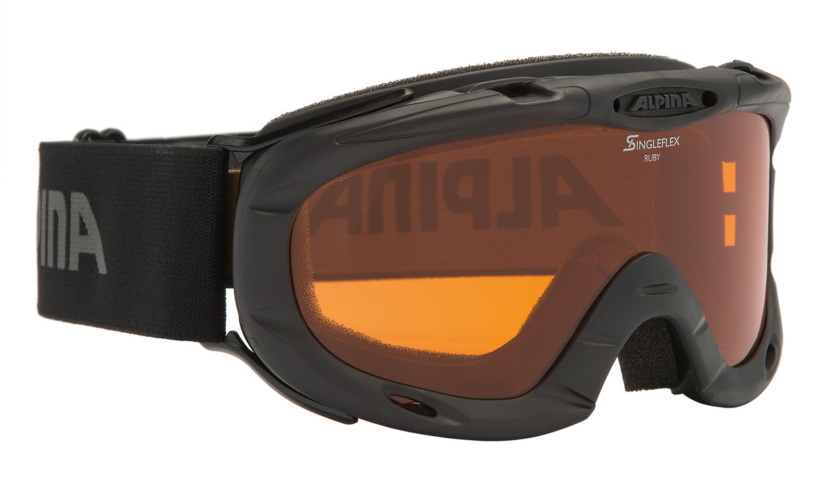 Очки горнолыжные Alpina Ruby S SH, цвет: черный, антрацитовыйA7050433Спортивная горнолыжная маска Alpina для детей и подростков обеспечивает высокую контрастность в любых погодных условиях, благодаря поляризационным фильтрам Quattroflex: 100% защита от УФ-А, -В, -С до 400 нм, устойчивые к появлению царапин, с антизапотевающим покрытием. Система вентиляции Turbo. Гибкая оправа. Система крепления: мягкая широкая регулируемая резинка. Маска идеальна для ношения со шлемом.Степень светопропускаемости: 43-80%.