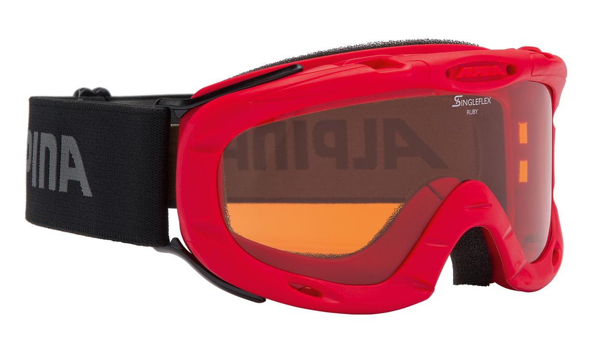 Очки горнолыжные Alpina Ruby S SH, цвет: черный, антрацитовый, красныйA7050451Спортивная горнолыжная маска Alpina для детей и подростков обеспечивает высокую контрастность в любых погодных условиях, благодаря поляризационным фильтрам Quattroflex: 100% защита от УФ-А, -В, -С до 400 нм, устойчивые к появлению царапин, с антизапотевающим покрытием. Система вентиляции Turbo. Гибкая оправа. Система крепления: мягкая широкая регулируемая резинка. Маска идеальна для ношения со шлемом.Степень светопропускаемости: 43-80%.