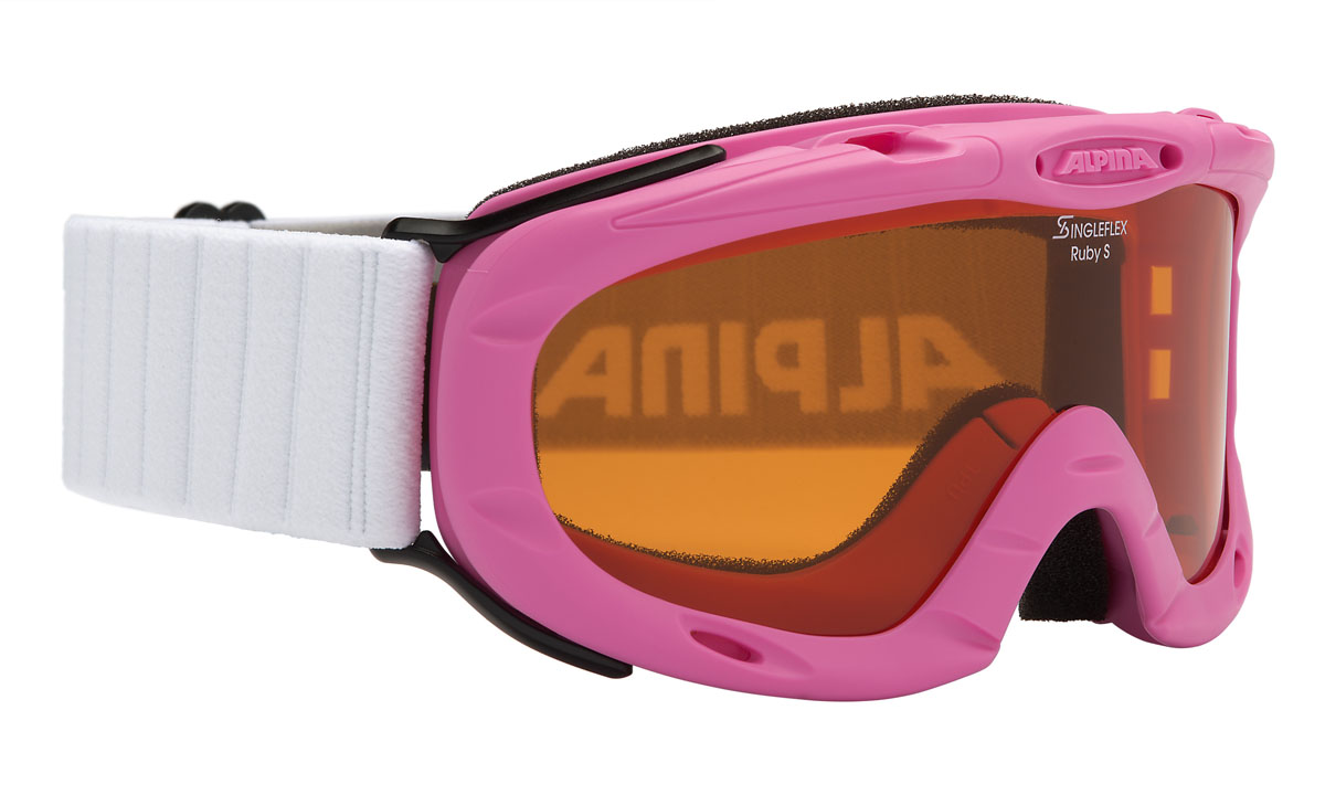 Очки горнолыжные Alpina Ruby S SH, цвет: белый, розовый, желтыйA7050458Спортивная горнолыжная маска для детей и подростков обеспечивает высокую контрастность в любых погодных условиях, благодаря поляризационным фильтрам Quattroflex: 100% защита от УФ-А, -В, -С до 400 нм, устойчивые к появлению царапин, с антизапотевающим покрытием. Система вентиляции TURBO. Гибкая оправа. Система крепления: мягкая широкая регулируемая резинка. Маска идеальна для ношения со шлемом.Линзы: Quattroflex. Оправа: Гибкая оправа.Степень светопропускаемости: 43-80%.
