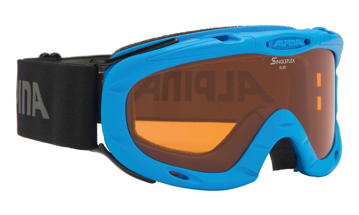 Очки горнолыжные Alpina Ruby S SH, цвет: черный, антрацитовый, голубойA7050488Спортивная горнолыжная маска Alpina для детей и подростков обеспечивает высокую контрастность в любых погодных условиях, благодаря поляризационным фильтрам Quattroflex: 100% защита от УФ-А, -В, -С до 400 нм, устойчивые к появлению царапин, с антизапотевающим покрытием. Система вентиляции Turbo. Гибкая оправа. Система крепления: мягкая широкая регулируемая резинка. Маска идеальна для ношения со шлемом.Степень светопропускаемости: 43-80%.
