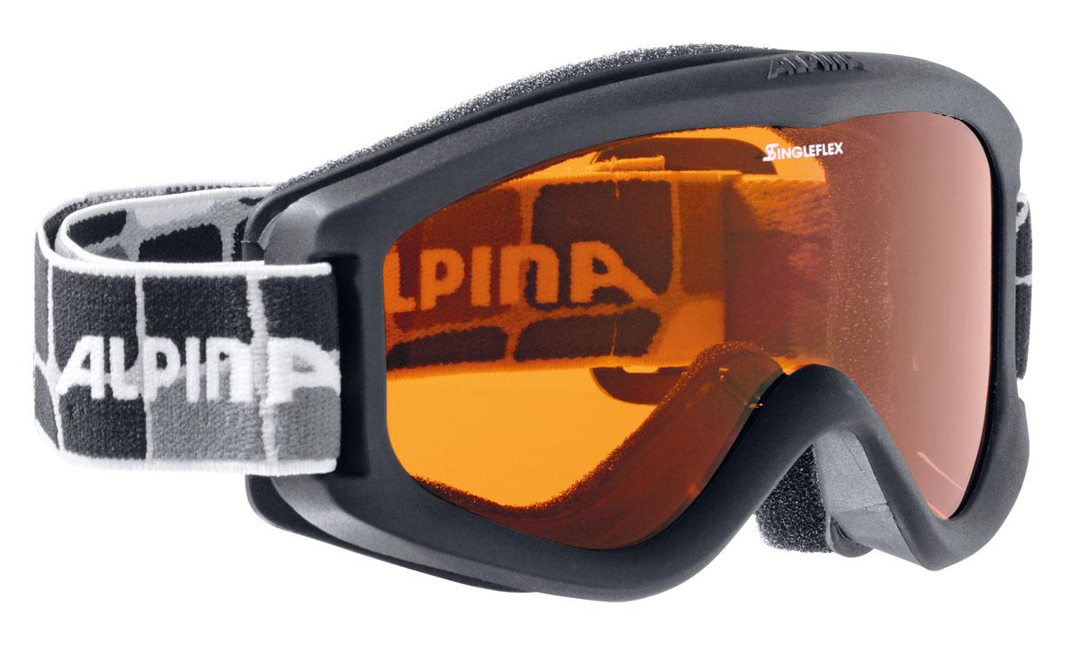 Очки горнолыжные Alpina Carvy 2.0 SH, цвет: черный, белыйA7076431Комфортная детская горнолыжная маска Alpina, оснащенная однослойной оранжевой линзой высокой контрастности. Горнолыжная маска Alpina - идеальная спортивная защита глаз для маленького ребенка.Линзы Singleflex:-100% защита от ультрафиолетовых лучей типа -А,-В, -С;-система вентиляции Turbo;-антизапотевающее покрытие Fogstop.