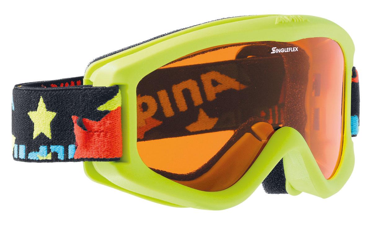 Очки горнолыжные Alpina CARVY 2.0 SH black/ stars (carvy 2.0)A7076471Комфортная детская горнолыжная маска, оснащённая однослойной оранжевой линзой высокой контрастности