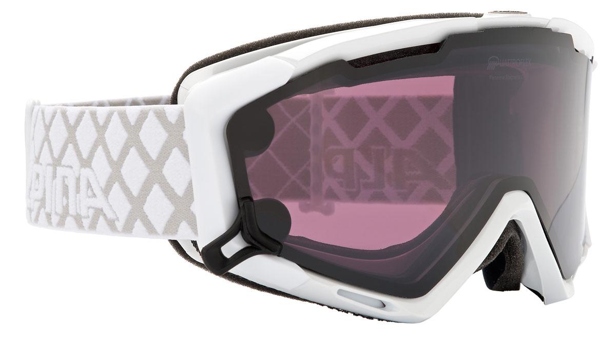 Очки горнолыжные Alpina Panoma Magnetic Q+S, цвет: белый, серыйA7080011Горнолыжная маска Alpina с хорошим обзором.Поляризационный фильтр Quattroflex.Маска подходит для ношения со шлемом.Линзы: 100% защита от УФ-А, -В, -С до 400 нм, устойчивый к появлению царапин, с антизапотевающим покрытием.Гибкая оправа.Система вентиляции: Turbo.Система крепления: мягкая широкая регулируемая резинка.
