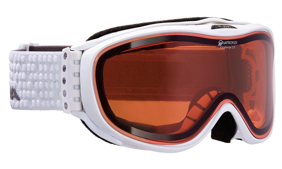 Очки горнолыжные Alpina Challenge 2.0 QH, цвет: белый, серыйA7092011Поляризационная линза Quattroflex Hicon с специальным покрытием против механических повреждений:-ударопрочные;-100% от ультрафиолетового A-B-C излучения до 400нм;-антизапотевающее внутреннее покрытие;-жесткое покрытие;-термальная защита;-поляризационные линзы для увеличения контрастности;-уровень защиты S2.Технологии: Применение особых пенистых покрытий позволяет добиться циркуляции воздушных потоков внутри корпуса. Воздушные потоки уменьшают влажность для предотвращения запотевания оптики.Соединение ремня и внешней части оправы осуществляется при помощи гибких крюков. Данные элементы делают ношение еще более удобным, особенно со шлемом.Специальные выемки на внутренней части оправы создают дополнительное внутренне пространство, специально для возможности ношения очков с диоптриями.Особые пластиковые элементы в области лба и щек, образующие крестообразную структуру, в купе с гибким элементами у переносицы, позволяют адаптироваться к индивидуальным особенностям лица. Данная технология позволяет добиться исключительного комфорта и исключает неприятные ощущения при длительном ношении.