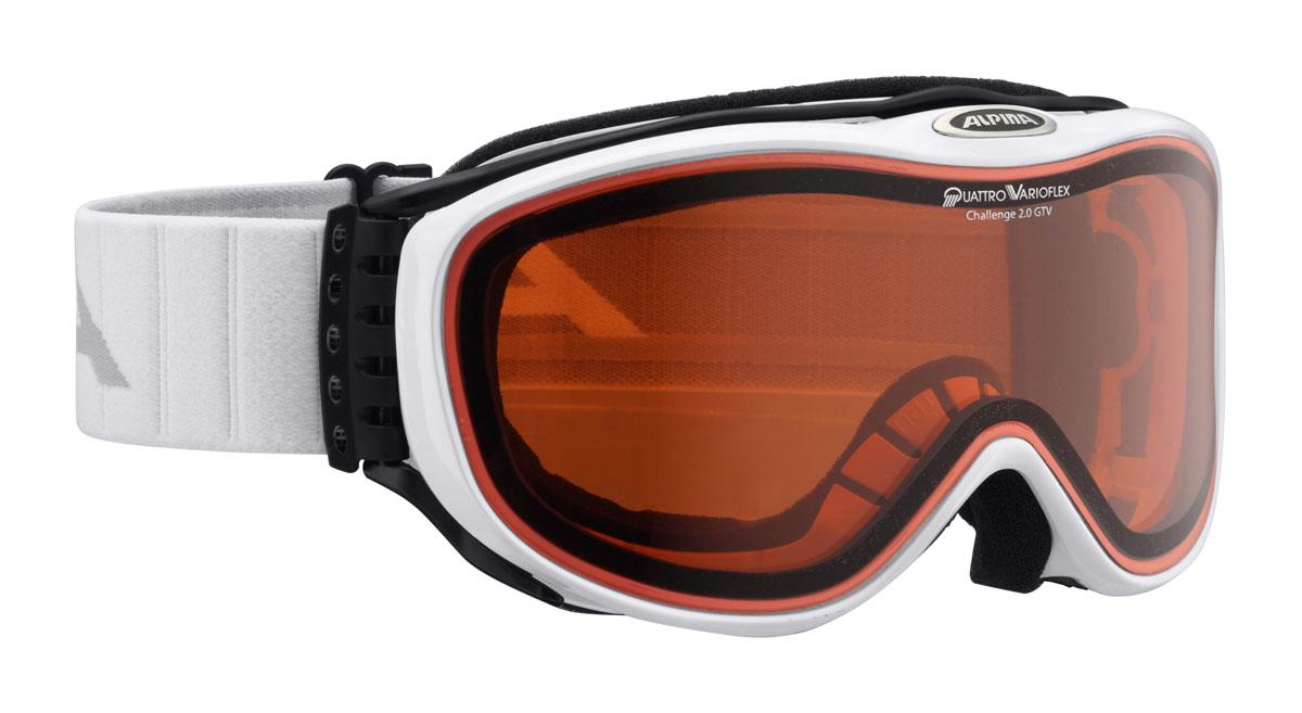 Очки горнолыжные Alpina Challenge 2.0 DH, цвет: белыйA7094111Тип: унисекс. Форма линзы: цилиндрическая. Цвет линзы: оранжевый. Материал линзы: поликарбонат с алмазным покрытием. Цвет оправы: черный. Защитные свойства: ультрафиолетовый фильтр, поляризационный фильтр, покрытие от царапин. Уровень защиты: S1- в сумерки, или пасмурную погод. Для использования в условиях тумана, пасмурно, солнечно, условий предвещающих бурю. Вентиляция в оправе. Особенности ремня: шарнирное крепление, регулировка. Совместимость со шлемом +. Технологии: линза QUATTROFLEX, термопокрытие, термоблок