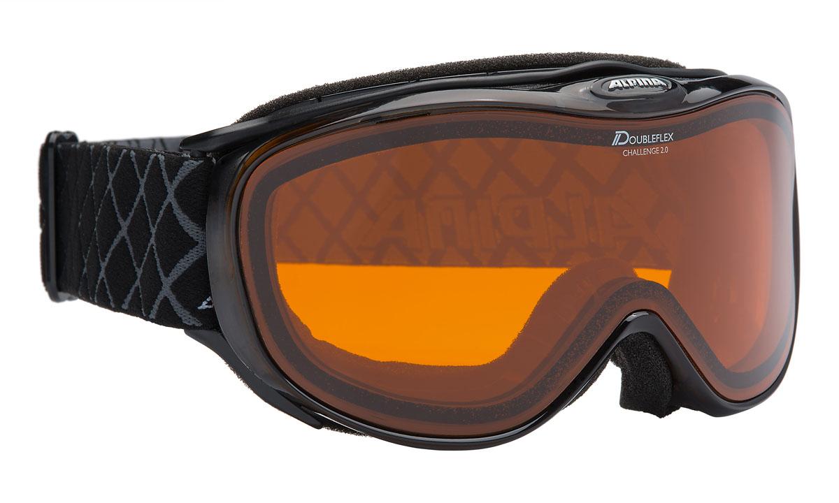 Очки горнолыжные Alpina Challenge 2.0 DH, цвет: черныйA7094131Горнолыжные очки Alpina - для использования в условиях тумана, пасмурно, солнечно, условий, предвещающих бурю.Защитные свойства: ультрафиолетовый фильтр, поляризационный фильтр, покрытие от царапин.Уровень защиты: S1- в сумерки, или пасмурную погод.Совместимость со шлемом.Вентиляция в оправе.Форма линзы: цилиндрическая.Технологии: линза Quattroflex, термопокрытие, термоблок.Особенности ремня: шарнирное крепление, регулировка.Материал линзы: поликарбонат с алмазным покрытием.