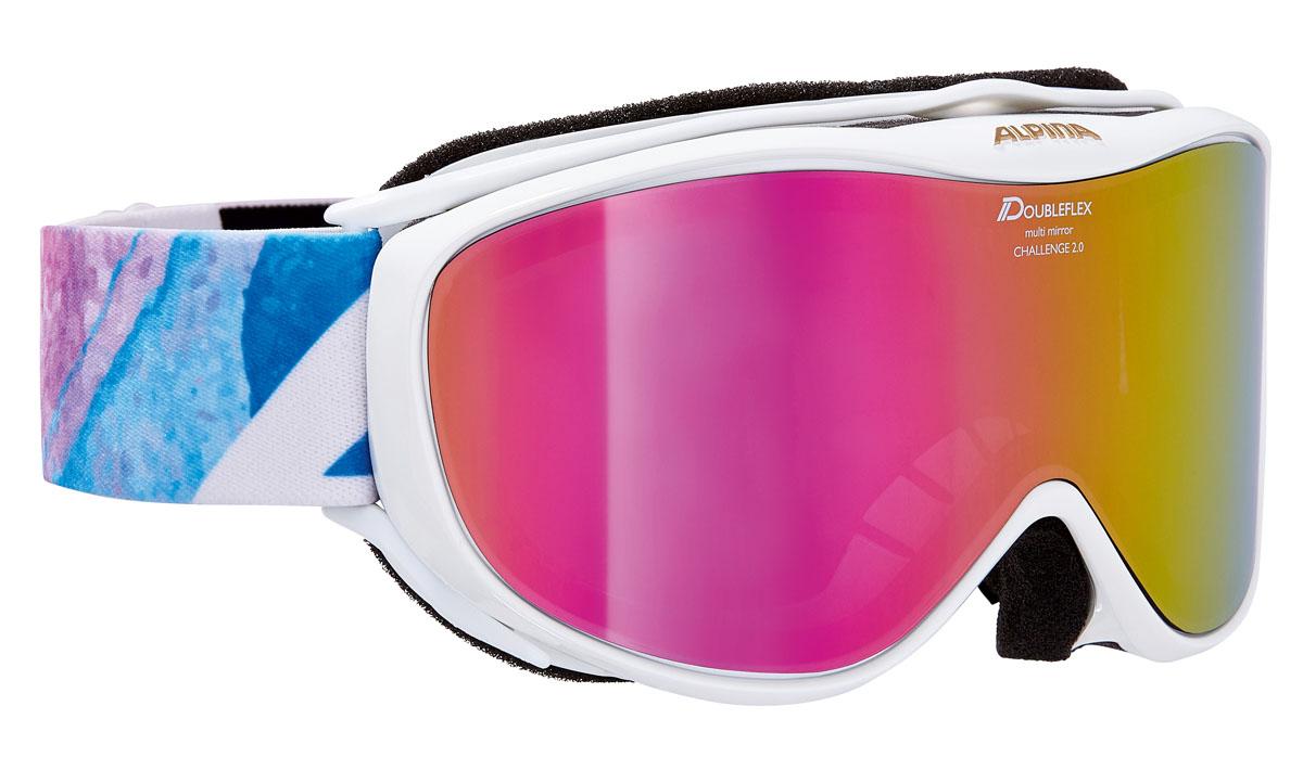 Очки горнолыжные Alpina Challenge 2.0 MM, цвет: белый, голубой, розовыйA7095815Легкая горнолыжная маска с хорошим обзором-100% защита от УФ А-В-С до 400 нм-Гибкая и комфортная оправа плотно и равномерно прилегает к лицу-Шарнирные проушины для ремешка позволяют надёжно и комфортно зафиксировать маску на любом, даже