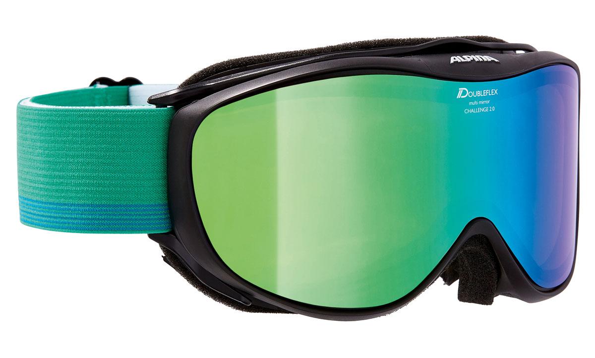 Очки горнолыжные Alpina Challenge 2.0 MM, цвет: зеленый, белый, синийA7095837Легкая горнолыжная маска с хорошим обзором-100% защита от УФ А-В-С до 400 нм-Гибкая и комфортная оправа плотно и равномерно прилегает к лицу-Шарнирные проушины для ремешка позволяют надёжно и комфортно зафиксировать маску на любом, даже
