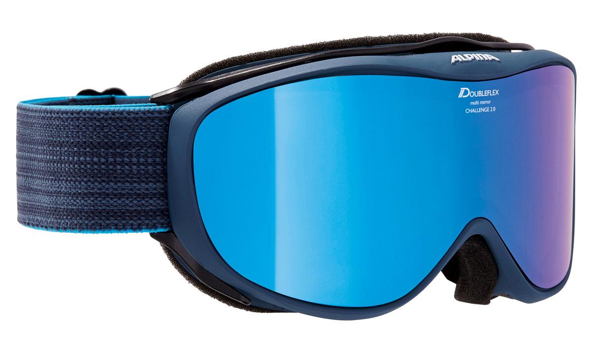 Очки горнолыжные Alpina CHALLENGE 2.0 MM bluegrey/blue (nightblue) (M40)A7095881Легкая горнолыжная маска с хорошим обзором-100% защита от УФ А-В-С до 400 нм-Гибкая и комфортная оправа плотно и равномерно прилегает к лицу-Шарнирные проушины для ремешка позволяют надёжно и комфортно зафиксировать маску на любом, даже очень массивном шлеме -Антифог покрытие снижает риск запотевания маски-На ремешок нанесены полоски из силикона, которые не дают ему скользить по шлему или шапке-По контуру оправы расположены вентиляционные порты-Объём маски позволяет использовать её вместе с корректирующими очками. В уплотнителе предусмотрены углубления для их дужек -Категория защиты линз: 2 категория-Двойная поляризованная линза Quattroflex с тонким зеркальным покрытием, которая эффективно приглушает блики отраженного от снега и льда света. -В модели используется двойная линза ориентированная на примение в условиях переменной облачности с цветным зеркальным покрытием Multi Mirrow