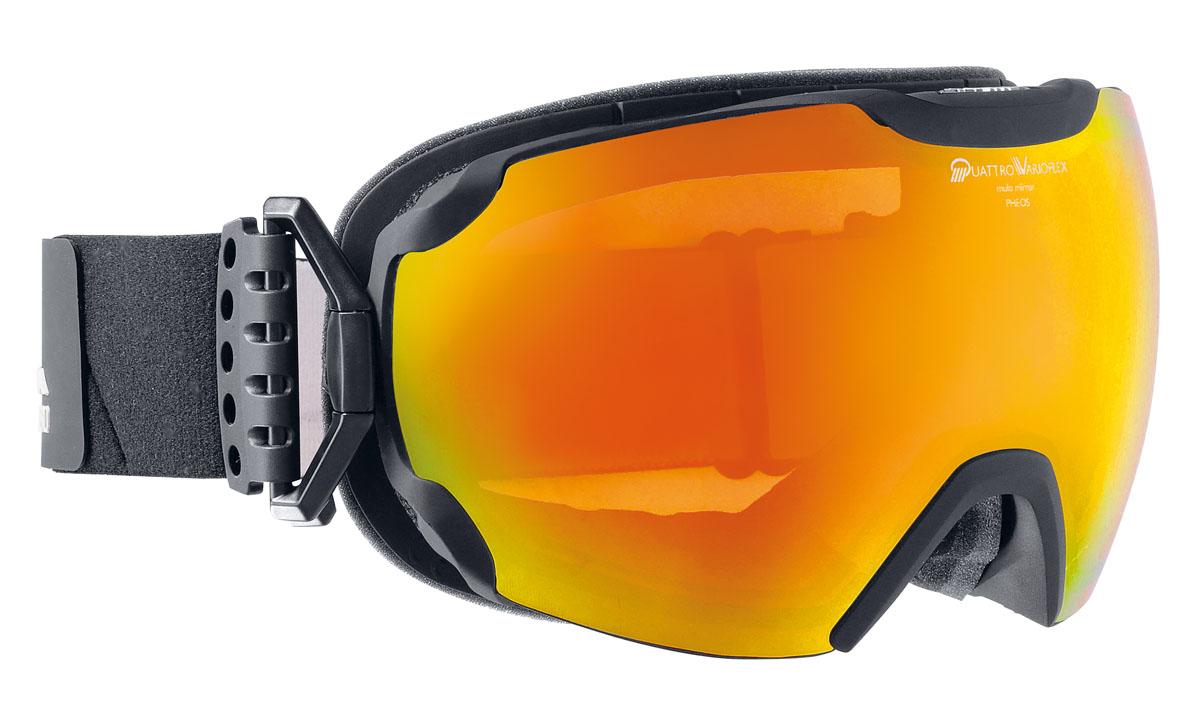 Очки горнолыжные Alpina Pheos QVMM, цвет: черный, белый, оранжевыйA7201831Комфортная легкая горнолыжная маска Alpina - одна из наиболее технически продвинутых моделей в линейке Alpina. Отличается широким углом обзора. Маска выполнена в стильном и функциональном безоправном дизайне. Двойная фотохромная линза QuattroVarioFlexVarioflex - фотохромная линза от Alpina, которая меняет свое затемнение в зависимости от интенсивности солнечного освещения, позволяя сохранить четкость и контраст в любых погодных условиях. С зеркальным покрытием Multi Mirrow приглушает блики и меняет свое затемнение в зависимости от интенсивности солнечного света. Фильтр ориентирован на применение в широком спектре погодных условий - от пасмурной погоды до яркой солнечной.-100% защита от УФ А-В-С до 400 нм;безоправный дизайн маски позволил радикально расширить поле зрения райдера без значительного увеличения размеров линзы;-сферическая линза дополнительно увеличивает поле зрения и исключает оптические искажения;-гибкая и комфортная оправа плотно и равномерно прилегает к лицу;-шарнирные направляющие для ремешка позволяют надёжно и комфортно зафиксировать маску на шлеме;-антифог покрытие снижает риск запотевания маски;-на ремешок нанесены полоски из силикона, которые не дают ему скользить по шлему или шапке;-по контуру оправы расположены вентиляционные порты. Категория защиты линз: фотохром 1-3.