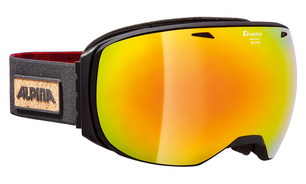 Очки горнолыжные Alpina Big Horn MM, цвет: черный, красныйA7207831Очки горнолыжные Alpina идеально подойдут для использования в снежной местности, благодаря безрамочному дизайну оправы и максимально возможным углом обзора и сферической линзе. Максимально удобная оправа и гибкие петли ремня позволят добиться максимального удобства ношения.Qutroflex и Varioflex - лучшее, что можно купить.Непрозрачное зеркальное покрытие и усиленная защита от ИК излучения.Ударопрочные. 100% от ультрафиолетового A-B-C излучения до 400нм.Антизапотевающее внутреннее покрытие.Термальная защита.Усиленная защита от инфракрасного излучения. Усиленное зеркальное напыление.