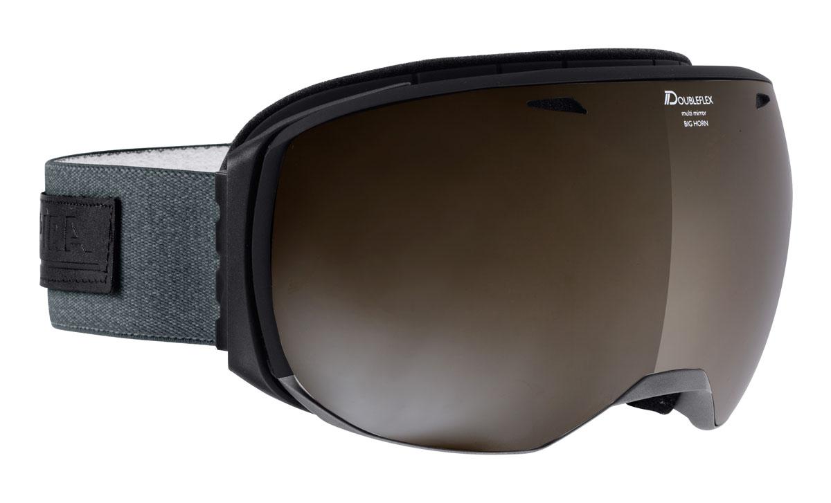 Очки горнолыжные Alpina Big Horn MM, цвет: серый, белыйA7207833Очки горнолыжные Alpina идеально подойдут для использования в снежной местности, благодаря безрамочному дизайну оправы и максимально возможным углом обзора и сферической линзе. Максимально удобная оправа и гибкие петли ремня позволят добиться максимального удобства ношения.Qutroflex и Varioflex - лучшее, что можно купить.Непрозрачное зеркальное покрытие и усиленная защита от ИК излучения.Ударопрочные. 100% от ультрафиолетового A-B-C излучения до 400нм.Антизапотевающее внутреннее покрытие.Термальная защита.Усиленная защита от инфракрасного излучения. Усиленное зеркальное напыление.