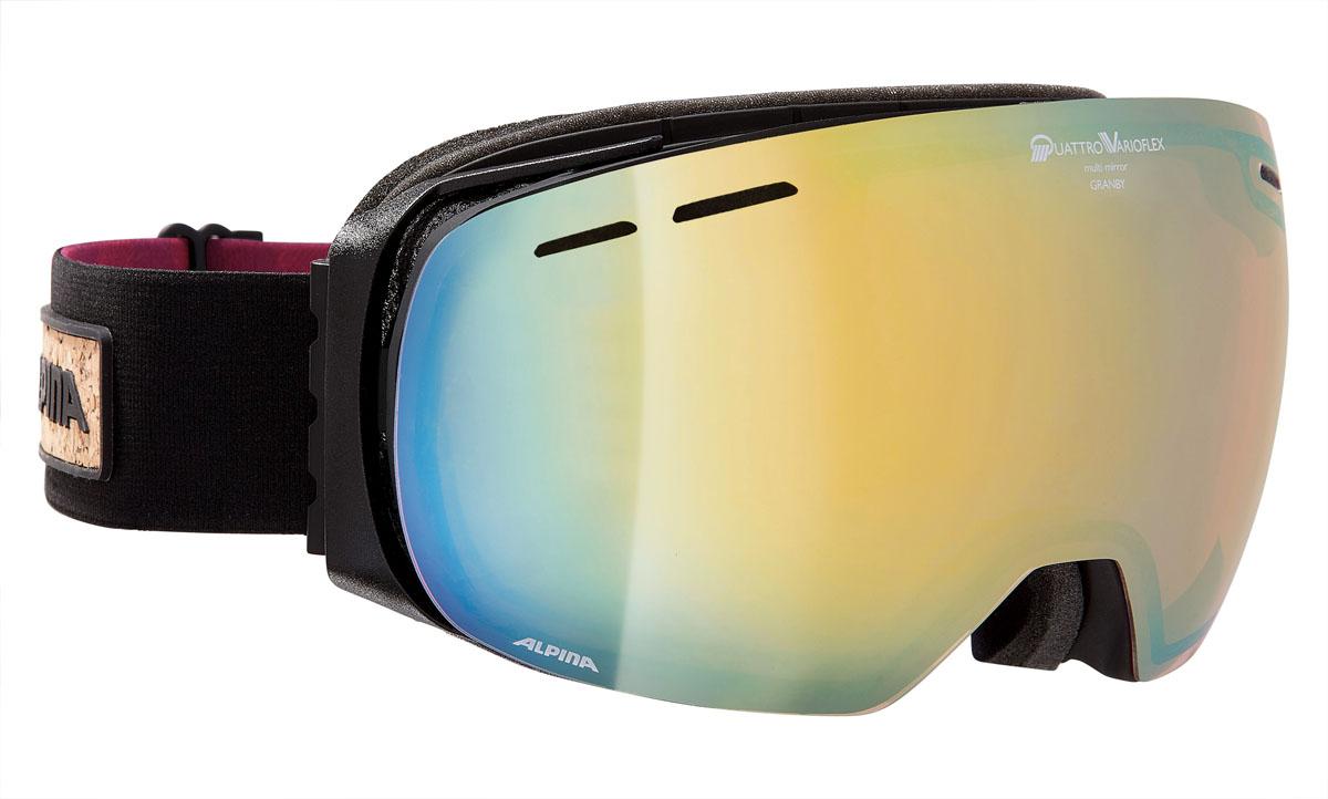 Очки горнолыжные Alpina Granby QVMM, цвет: черный, красный, желтыйA7211733Модная модель с безрамочной оправой, сферической линзой и широким углом обзора. Доступна с тремя различными линзами в ярких и сочных цветах.Применение особых пенистых покрытий позволяет добиться циркуляции воздушных потоков внутри корпуса. Воздушные потоки уменьшают влажность для предотвращения запотевания оптики.Особое ребристое покрытие на внутренней части ремня исключает сползания с оптики.Соединение ремня и внешней части оправы осуществляется при помощи гибких крюков. Данные элементы делают ношение еще более удобным, особенно со шлемом.Для некоторых моделей была разработана специальная панорамная линза, для обеспечения широкого угла зрения, более 180 градусов, по требованиям стандартов CE. Увеличенное поле зрения способствует лучшему восприятию опасностей на склоне.Вентиляционные отверстия в самой линзе создают направленные воздушные потоки, опоясывающие внутреннею сторону линзы, что эффективно предотвращает запотевание.Линза изогнутой формы способствует лучшему зрительному восприятию и увеличивает внутренний объем, оптимизируя вентиляцию.