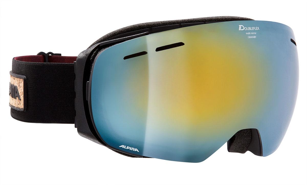 Очки горнолыжные Alpina Granby MM, цвет: черный, красный, синийA7213833Компактная горнолыжная маска Alpina с широким углом обзора и сферическими линзами, для применения в условиях переменной облачности и неяркого солнца.-100% защита от УФ А-В-С до 400 нм.-Дизайн маски позволил радикально расширить поле зрения райдера без значительного увеличения размеров линзы.-Сферическая линза дополнительно увеличивает поле зрения и исключает оптические искажения.-Гибкая и комфортная оправа плотно и равномерно прилегает к лицу.-Шарнирные направляющие для ремешка позволяют надежно и комфортно зафиксировать маску на шлеме.-Антифог покрытие снижает риск запотевания маски.-На ремешок нанесены полоски из силикона, которые не дают ему скользить по шлему или шапке.-По контуру оправы расположены вентиляционные порты.-В линзе расположены дополнительные вентиляционные отверстия, которые улучшают циркуляцию воздуха и снижают риск запотевания маски.-Поляризованная двойная линза Quattroflex со стильным зеркальным покрытием Multi Mirrow.