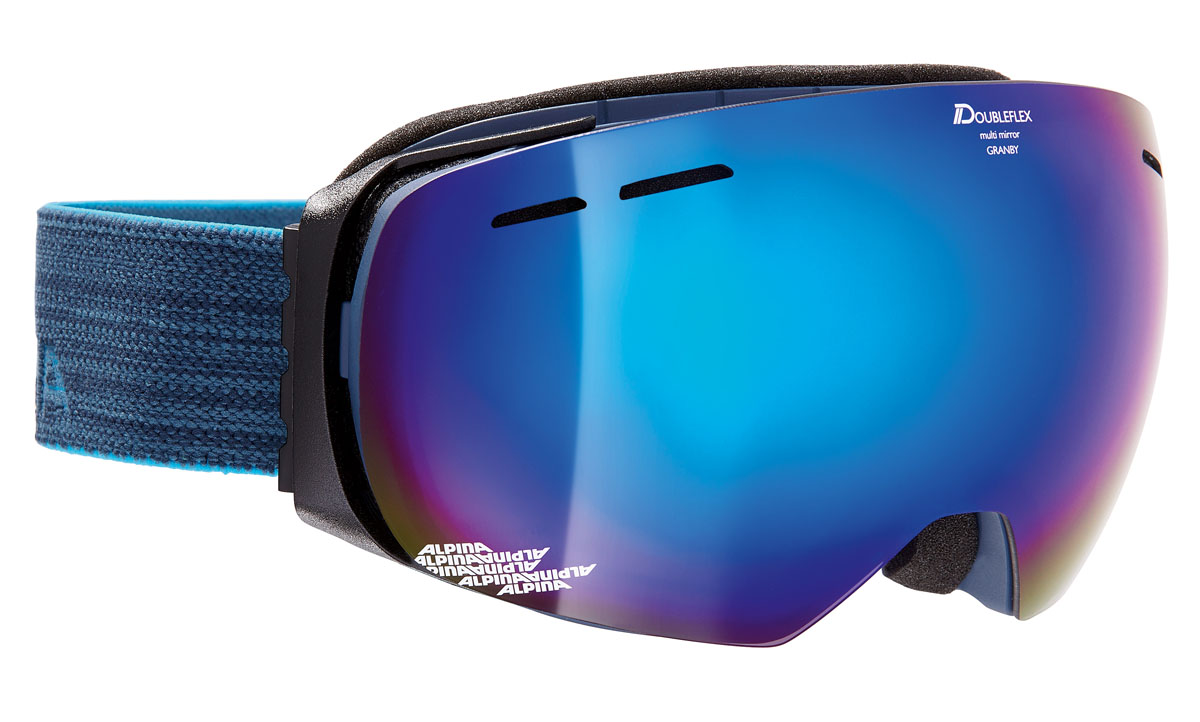 Очки горнолыжные Alpina Granby MM, цвет: серо-голубой, синийA7213883Компактная горнолыжная маска Alpina с широким углом обзора и сферическими линзами, для применения в условиях переменной облачности и неяркого солнца.-100% защита от УФ А-В-С до 400 нм.-Дизайн маски позволил радикально расширить поле зрения райдера без значительного увеличения размеров линзы.-Сферическая линза дополнительно увеличивает поле зрения и исключает оптические искажения.-Гибкая и комфортная оправа плотно и равномерно прилегает к лицу.-Шарнирные направляющие для ремешка позволяют надежно и комфортно зафиксировать маску на шлеме.-Антифог покрытие снижает риск запотевания маски.-На ремешок нанесены полоски из силикона, которые не дают ему скользить по шлему или шапке.-По контуру оправы расположены вентиляционные порты.-В линзе расположены дополнительные вентиляционные отверстия, которые улучшают циркуляцию воздуха и снижают риск запотевания маски.-Поляризованная двойная линза Quattroflex со стильным зеркальным покрытием Multi Mirrow.