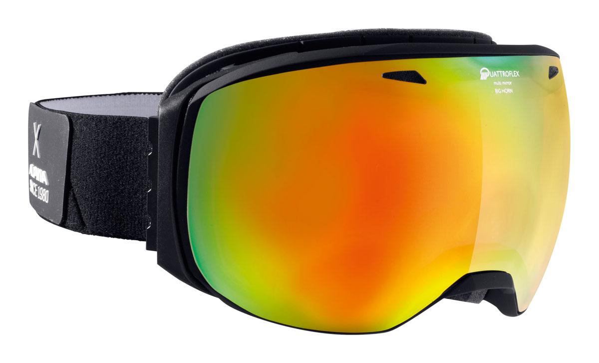 Очки горнолыжные Alpina BIG HORN QMM black/white (black nurbs) (L40)A7241832Данная модель идеально подойдет для использования в снежной местности, благодаря безрамочному дизайну оправы и максимально возможным углом обзора и сферической линзе. Максимально удобная оправа и гибкие петли ремня позволят добиться максимального удобства ношения.Qutroflex - защита от бликовНепрозрачное зеклаьное покрытие и усиленная защита от ИК излученияУдаропрочные100% от ультрафиолетового A-B-C излучения до 400нмАнтизапотевающее внутреннее покрытиеТермальная защитаУсиленная защита от инфракрасного излученияУсиленное зеркальное напыление