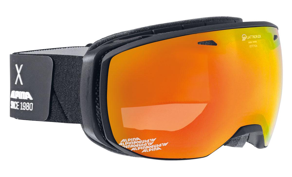 Очки горнолыжные Alpina Estetica QMM, цвет: черный, белый, оранжевый alpina granby s qmm black matt qmm red sph s2