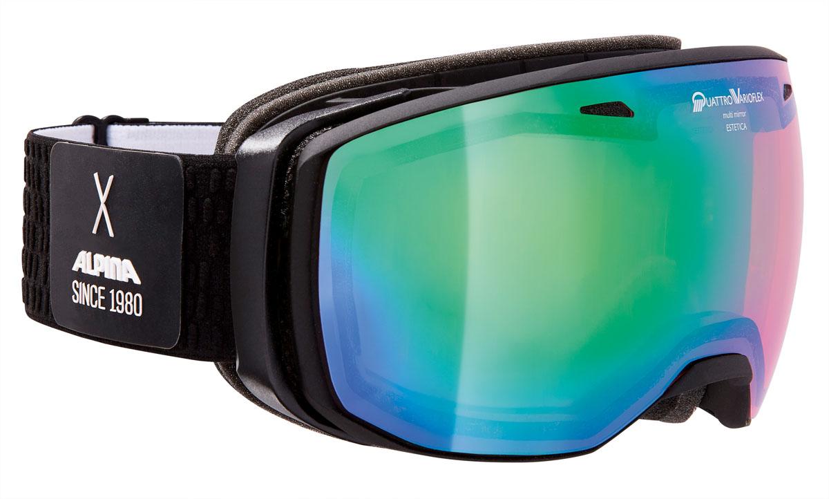 Очки горнолыжные Alpina Estetica QVMM, цвет: черный, белый, голубойA7252731Компактная горнолыжная маска с широким углом обзора и сферическими линзами , для применения в условиях переменной облачности и неяркого солнца.-100% защита от УФ А-В-С до 400 нм-Фильтр категории S2 рассчитан на катание в условиях