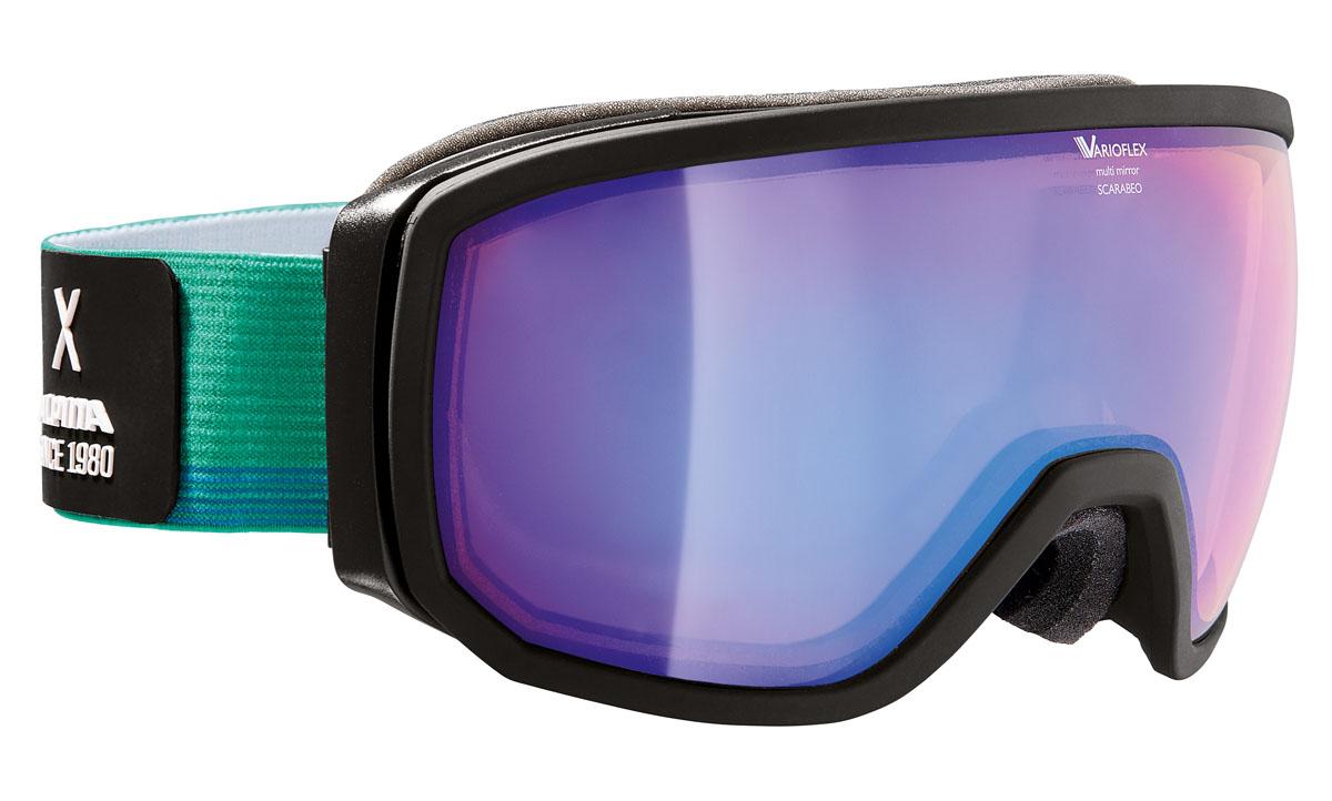 Очки горнолыжные Alpina Scarabeo VMM, цвет: зеленый, белый, синийA7254731Горнолыжная маска Alpina Scarabeo в стильной классической оправе подходит для большинства райдеров и совместима с большинством шлемов. Помимо того, что маски очень круто выглядят, они обеспечивают неограниченный обзор и высокую контрастность изображения. -Яркое цветное зеркальное покрытие Multi Mirror обеспечивает дополнительную контрастность и высокую степень защиты от теплового (инфракрасного) излучения. -Сферические линзы с зеркальным покрытием для максимального обзора во всех направлениях. -Форма оправы обеспечивает неограниченный обзор. -Airframe Venting System - система вентиляции обеспечивает оптимальный микроклимат и дополнительно препятствует запотеванию. -Гибкая оправа и слой пены для максимально комфортной и плотной посадки по лицу райдера. -Маска совместима с диоптрийными очками. -Эластичный регулируемый стреп прочно удерживает маску от соскальзывания.Что взять с собой на горнолыжную прогулку: рассказывают эксперты. Статья OZON Гид