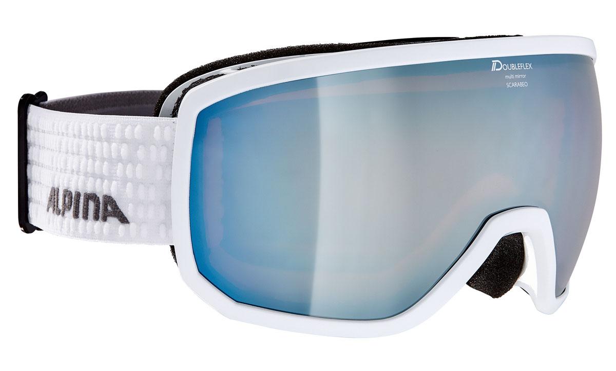 Очки горнолыжные Alpina SCARABEO MM white/grey (white dots) (L50)A7256811Дизайн SCARABEO устанавливает стандарты с точки зрения формы и стиля. Зеркальная маска с эстетически приятной рамой, доступны с различными технологиями линзы. Кроме того доступны разные линзы Quattroflex и Varioflex.