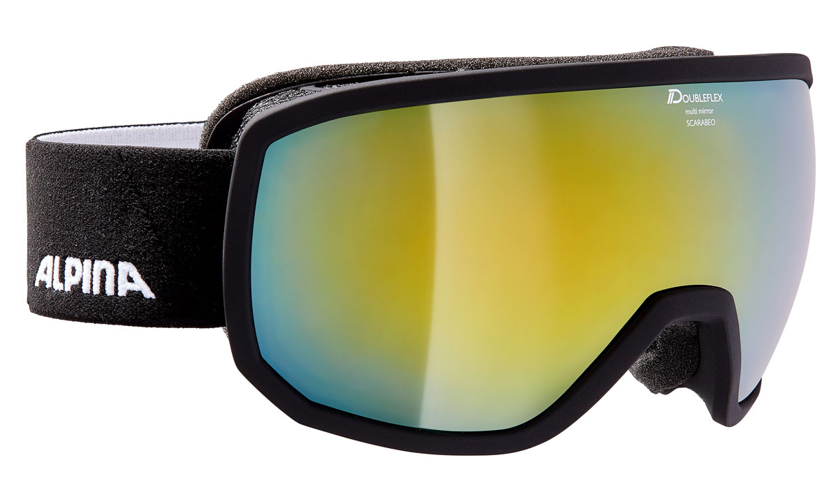 Очки горнолыжные Alpina Scarabeo MM, цвет: черный, белый, голубойA7256831Горнолыжная маска Alpina Scarabeo в стильной классической оправе подходит для большинства райдеров и совместима с большинством шлемов. Помимо того, что маски очень круто выглядят, они обеспечивают неограниченный обзор и высокую контрастность изображения.-Яркое цветное зеркальное покрытие Multi Mirror обеспечивает дополнительную контрастность и высокую степень защиты от теплового (инфракрасного) излучения.-Сферические линзы с зеркальным покрытием для максимального обзора во всех направлениях.-Форма оправы обеспечивает неограниченный обзор.-Airframe Venting System - система вентиляции обеспечивает оптимальный микроклимат и дополнительно препятствует запотеванию.-Гибкая оправа и слой пены для максимально комфортной и плотной посадки по лицу райдера.-Маска совместима с диоптрийными очками.-Эластичный регулируемый стреп прочно удерживает маску от соскальзывания.