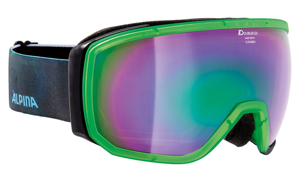 очки горнолыжные alpina big horn mm цвет зеленый белый синий Очки горнолыжные Alpina Scarabeo MM, цвет: черный, зеленый