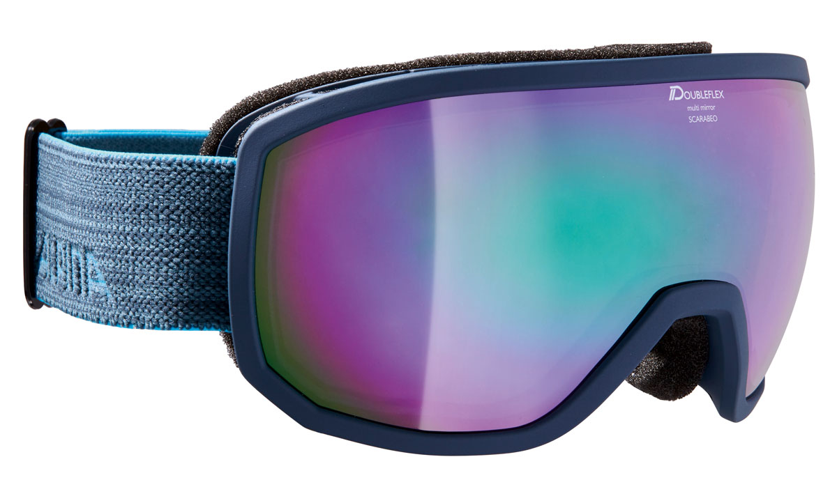 Очки горнолыжные Alpina Scarabeo MM, цвет: серо-голубой, синийA7256881Горнолыжная маска Alpina Scarabeo в стильной классической оправе подходит для большинства райдеров и совместима с большинством шлемов. Помимо того, что маски очень круто выглядят, они обеспечивают неограниченный обзор и высокую контрастность изображения.-Яркое цветное зеркальное покрытие Multi Mirror обеспечивает дополнительную контрастность и высокую степень защиты от теплового (инфракрасного) излучения.-Сферические линзы с зеркальным покрытием для максимального обзора во всех направлениях.-Форма оправы обеспечивает неограниченный обзор.-Airframe Venting System - система вентиляции обеспечивает оптимальный микроклимат и дополнительно препятствует запотеванию.-Гибкая оправа и слой пены для максимально комфортной и плотной посадки по лицу райдера.-Маска совместима с диоптрийными очками.-Эластичный регулируемый стреп прочно удерживает маску от соскальзывания.