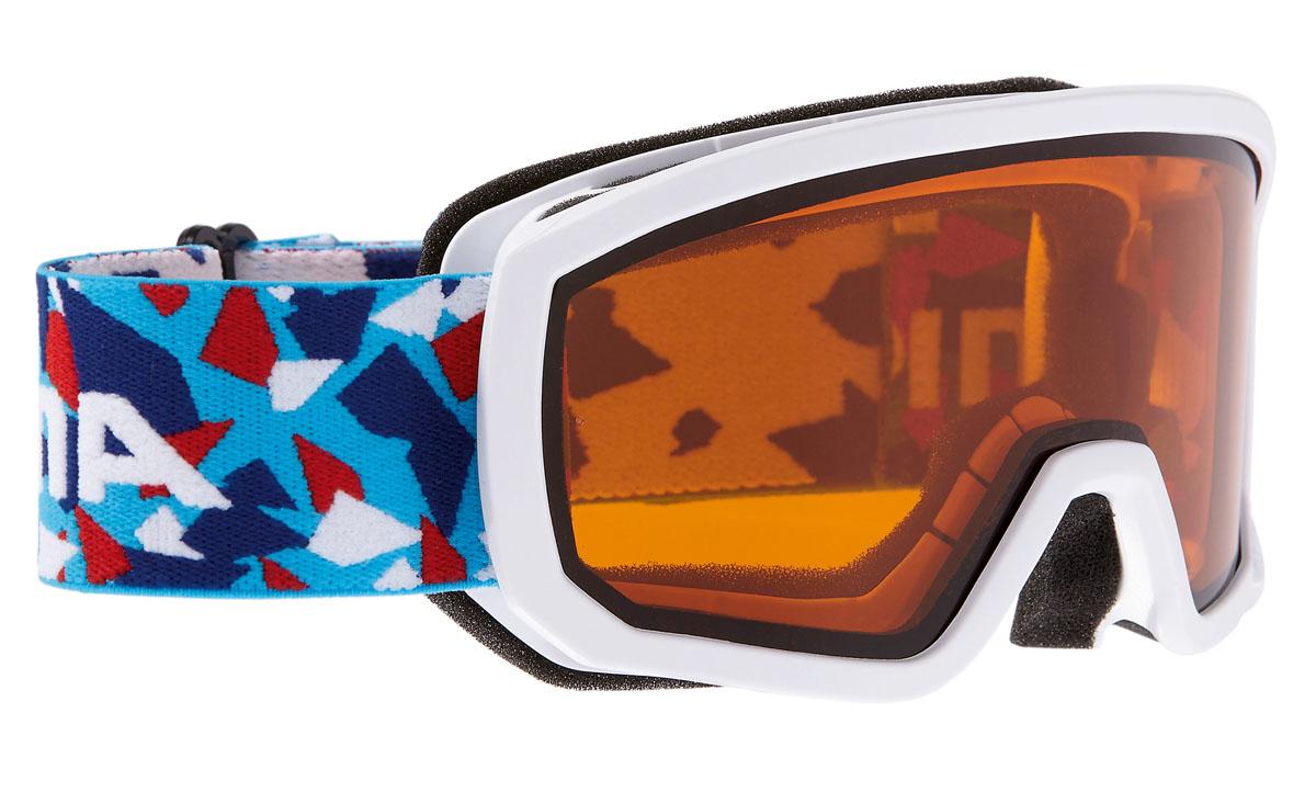 Очки горнолыжные Alpina Scarabeo JR. DH, цвет: синий, белый, красныйA7258112Горнолыжные очки Alpina Scarabeo имеет отличный панорамный вид и защищает от снега, ветра и яркого солнечного света, что позволяет детям безопасно кататься со склонов. Сферическая линза, зеркальное напыление, двойная линза. Airframe Venting System - система вентиляции обеспечивает оптимальный микроклимат и дополнительно препятствует запотеванию. Эластичный регулируемый стреп прочно удерживает маску от соскальзывания. Эта маска также идеально подходит для детей, которые носят очки.