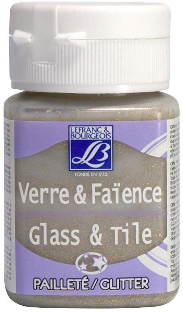 Краска по стеклу и керамике Lefranc & Bourgeois Glass&Tile, с глиттером, цвет: золото (718), 50 мл540403Акриловая обжигаемая краска на водной основе Lefranc & Bourgeois Glass&Tile применяется для декорирования стеклянной посуды, различных видов фарфора и керамики. После высыхания внешне ничем не отличаются от витражных сольвентовых красок. Можно разбавлять водой.