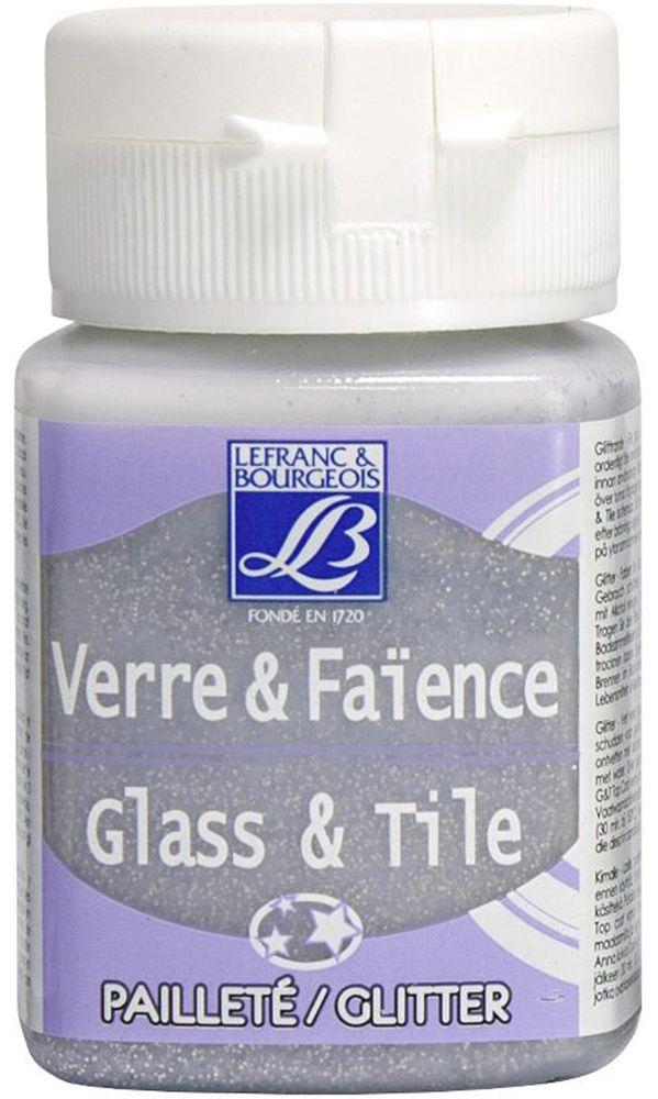 """Краска по стеклу и керамике Lefranc & Bourgeois """"Glass&Tile"""", с глиттером, цвет: серебро (719), 50 мл"""