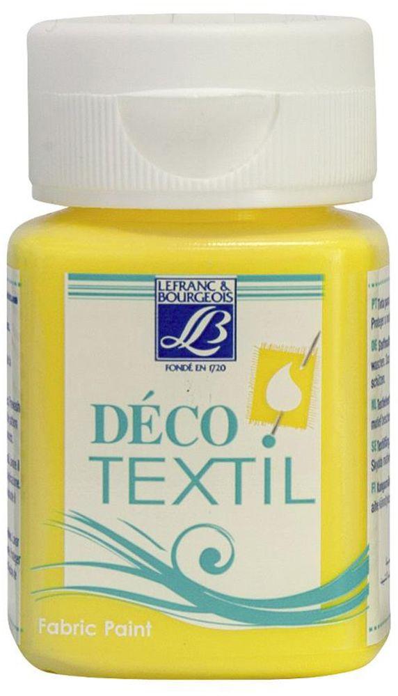 Краска по ткани Lefranc & Bourgeois Deco Textil, цвет: бледно-желтый (172), 50 млLF211517Краски Deco Textil подходят для росписи различных тканей: хлопка, шерсти, льна, синтетических тканей, фетра, велюра. Краски по ткани на водной основе наносятся легко и безупречно ложатся на ткань. Благодаря своей структуре усиливают мягкость тканевой основы и подходят для росписи как светлых, так и темных тканей (для темных основ рекомендуется наносить краску в несколько слоев). Краски для росписи ткани отлично смешиваются между собой. После термофиксации утюгом краски по ткани не боятся машинной стирки, сохраняя яркость и контрастность цветов.