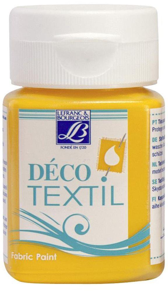 Краска по ткани Lefranc & Bourgeois Deco Textil, цвет: желтый солнечный (200), 50 мл05042270Краски Deco Textil подходят для росписи различных тканей: хлопка, шерсти, льна, синтетических тканей, фетра, велюра. Краски по ткани на водной основе наносятся легко и безупречно ложатся на ткань. Благодаря своей структуре усиливают мягкость тканевой основы и подходят для росписи как светлых, так и темных тканей (для темных основ рекомендуется наносить краску в несколько слоев). Краски для росписи ткани отлично смешиваются между собой. После термофиксации утюгом краски по ткани не боятся машинной стирки, сохраняя яркость и контрастность цветов.