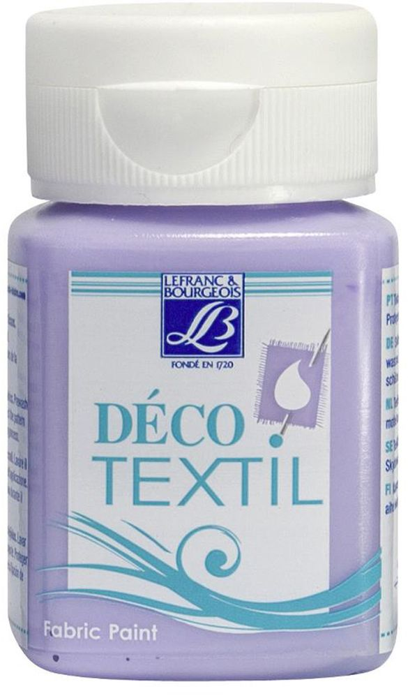 Краска по ткани Lefranc & Bourgeois Deco Textil, цвет: фиолетовый (602), 50 млLF211468Краски Deco Textil подходят для росписи различных тканей: хлопка, шерсти, льна, синтетических тканей, фетра, велюра. Краски по ткани на водной основе наносятся легко и безупречно ложатся на ткань. Благодаря своей структуре усиливают мягкость тканевой основы и подходят для росписи как светлых, так и темных тканей (для темных основ рекомендуется наносить краску в несколько слоев). Краски для росписи ткани отлично смешиваются между собой. После термофиксации утюгом краски по ткани не боятся машинной стирки, сохраняя яркость и контрастность цветов.