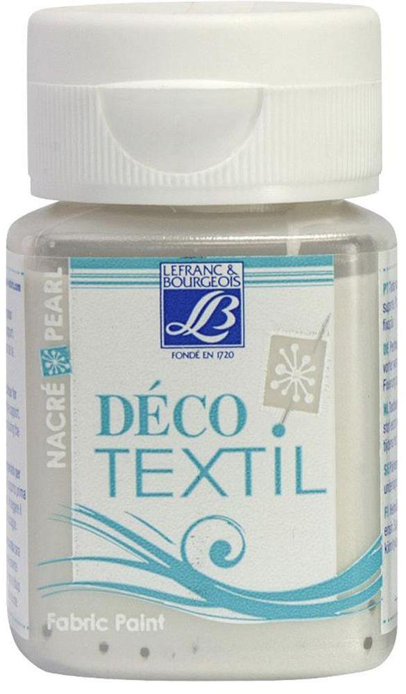 Краска по ткани Lefranc & Bourgeois Deco Textil, цвет: перламутровый белый (738), 50 мл01054302Краски Deco Textil подходят для росписи различных тканей: хлопка, шерсти, льна, синтетических тканей, фетра, велюра. Краски по ткани на водной основе наносятся легко и безупречно ложатся на ткань. Благодаря своей структуре усиливают мягкость тканевой основы и подходят для росписи как светлых, так и темных тканей (для темных основ рекомендуется наносить краску в несколько слоев). Краски для росписи ткани отлично смешиваются между собой. После термофиксации утюгом краски по ткани не боятся машинной стирки, сохраняя яркость и контрастность цветов.