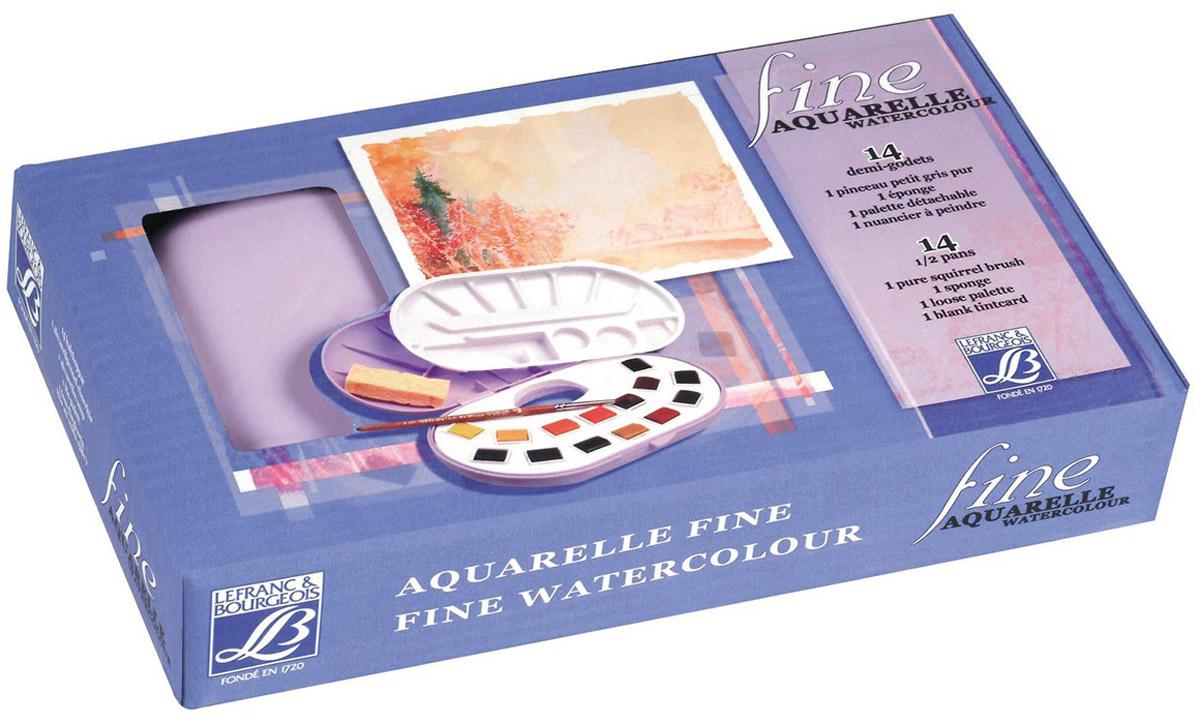 Набор акварели Lefranc & Bourgeois Fine, 14 цветовMDL4362Набор Lefranc & Bourgeois Fine включает акварельные краски 14 цветов. Твердые краски в пластиковом футляре. Помимо великолепных красок в комплекте кисть, палитра и губка. Краски замечательного качества, это тонко-растертые пигменты высших сортов.