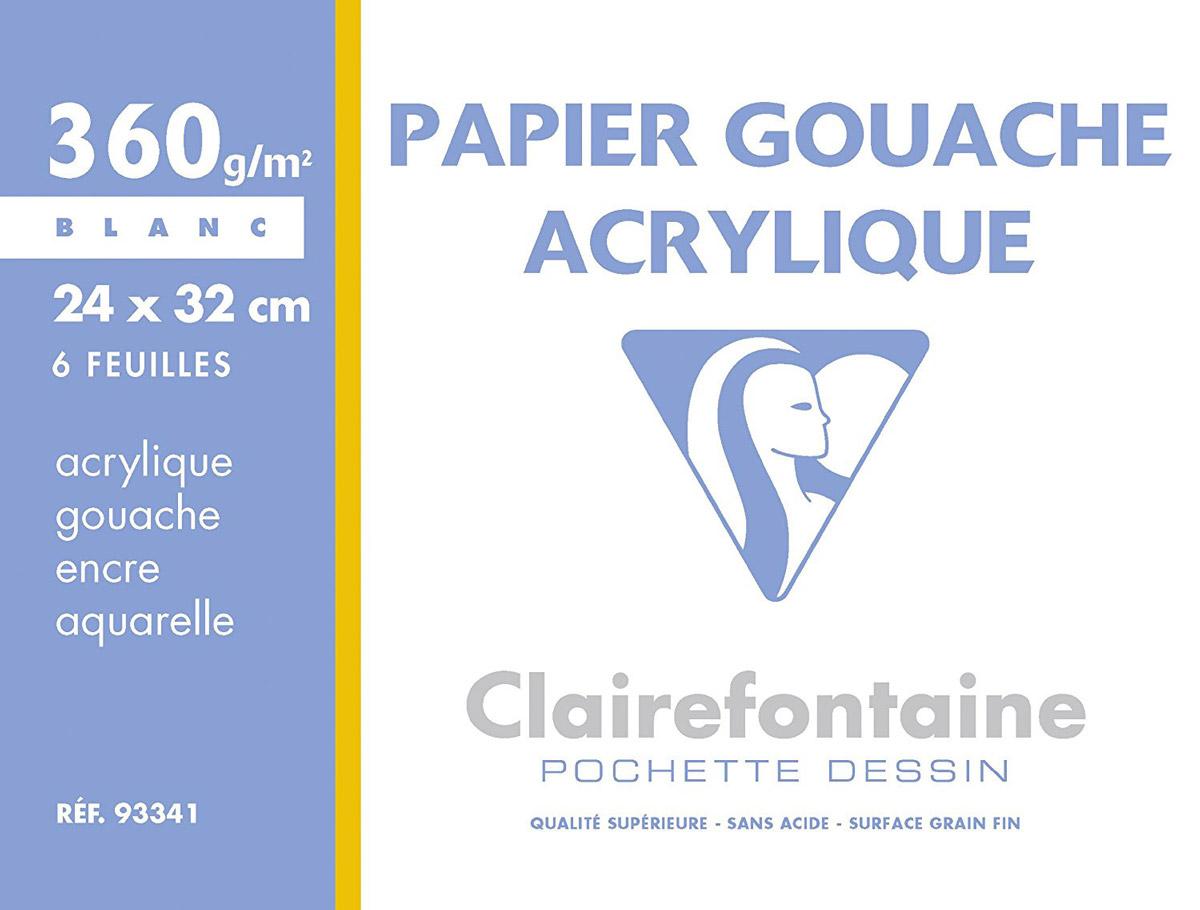 Набор бумаги Clairefontaine Pochette, для гуаши и акрила, 24 х 32 см, 6 листов93341СУпаковка бумаги POCHETTE Для гуаши и акрила (24х32, 360г, 6л) 93341С