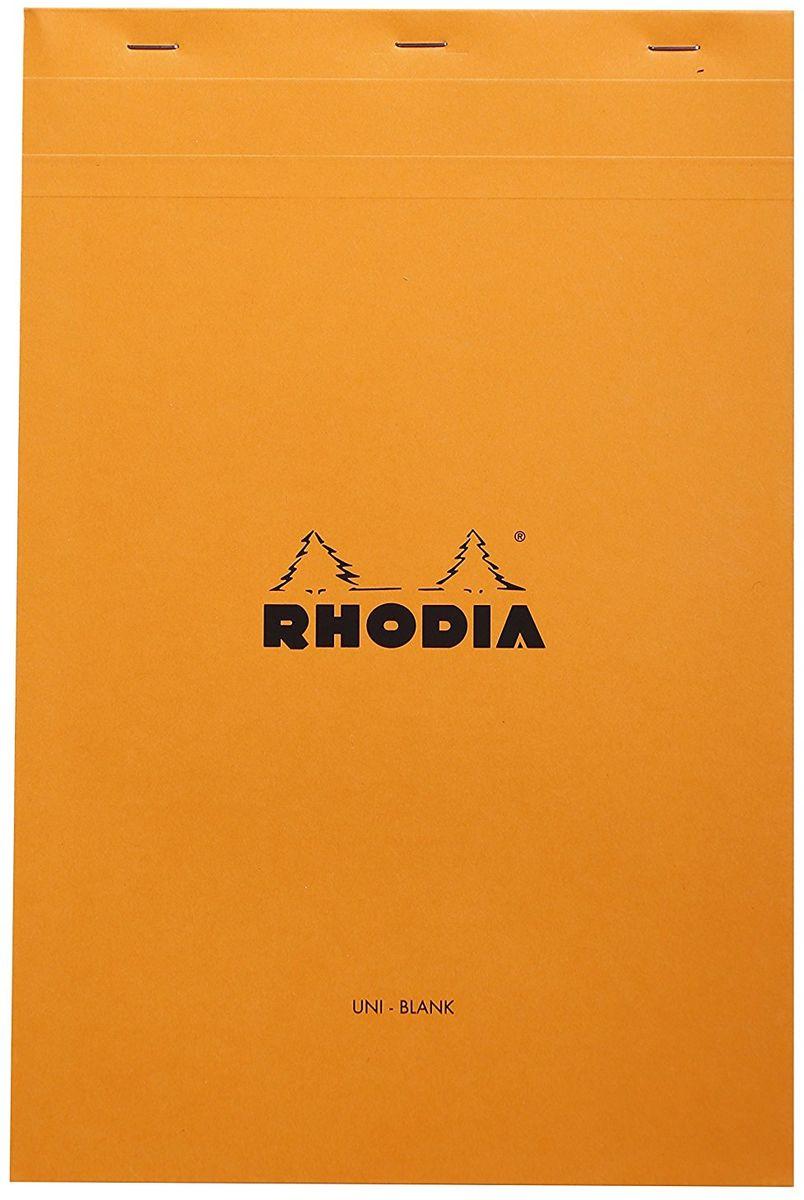 Rhodia Блокнот 80 листов в точку цвет оранжевый19558CБлокнот для графики в точку на скобах. Оранжевая обложка из плотного картона со специальной водонепроницаемой пропиткой, ее можно легко отогнуть вверх и загнуть на заднюю уплотненную подложку. Внутри 80 белых листов в серую точку с шагом 5 мм из веленевой бумаги плотностью 80 гр/м2.Дополнительные характеристики:- тип крепления: на скобах;- микроперфорация по верхнему краю страниц;- разметка: портретная;