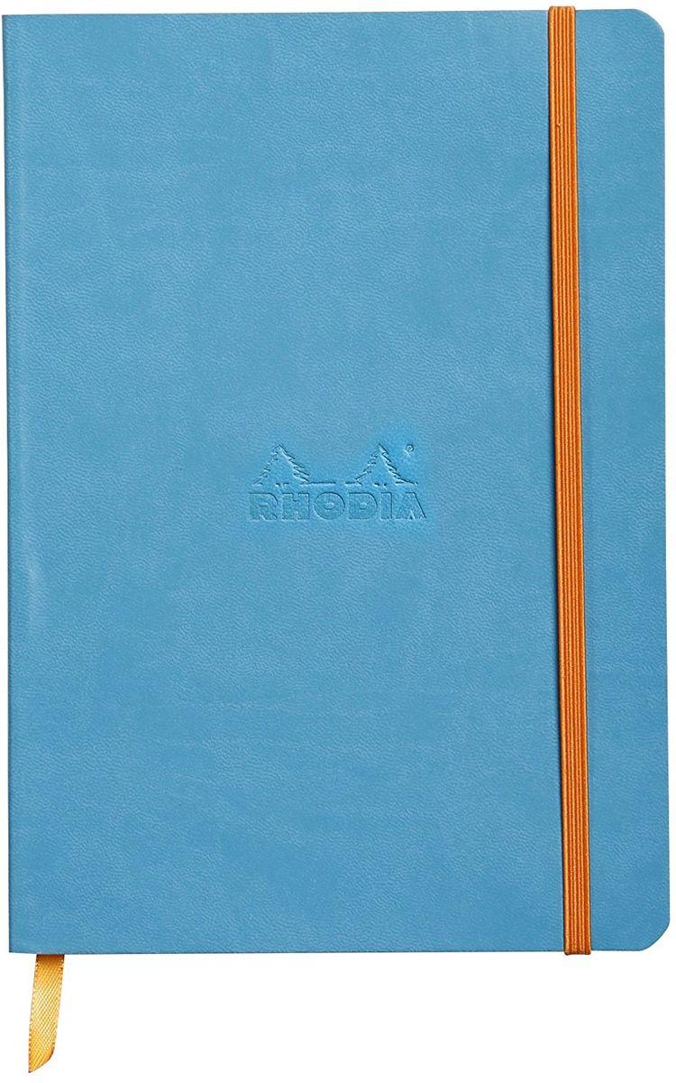 Rhodia Записная книжка 80 листов в линейку цвет бирюзовый117407CЗаписная книжка Rhodia исполнена в ярком цвете, поэтому она станет прекрасным подарком для каждого. Яркий, красивый блокнот подойдет, как для рабочего процесса, так и для творческих мыслей. Обложка записной книжки сделана из искусственной итальянской кожи. Внутри гладкие листы цвета слоновой кости. Также у записной книжки есть шелковая закладка и фиксирующая резинка.