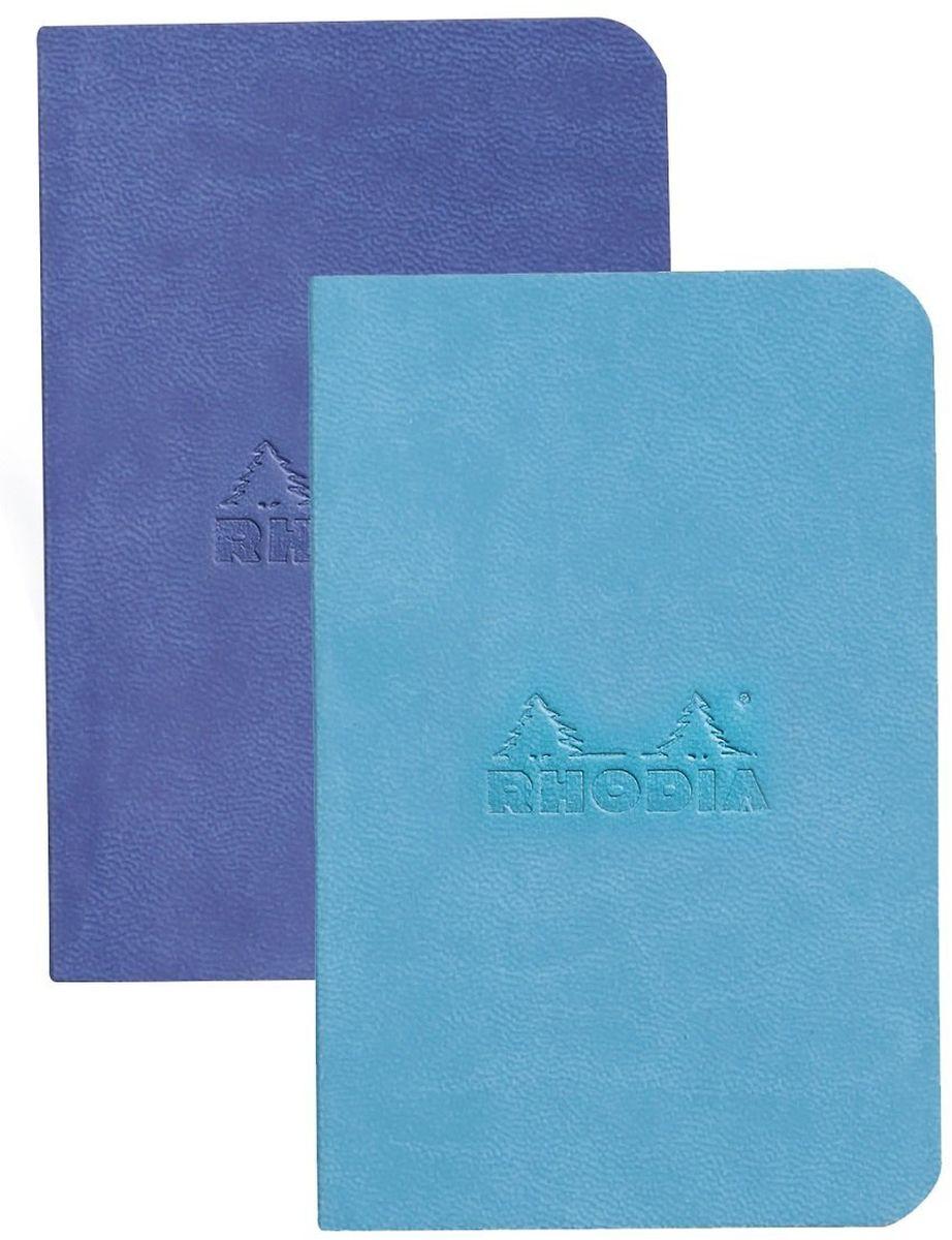 Rhodia Записная книжка 80 листов в линейку цвет бирюзовый синий 2 шт117207CЯркий мини-комплект из 2-х записных книжек в мягкой обложке из искусственной итальянской кожи со сгруленными краями прекрасно подойдет для повседневных заметок. 160 страниц гладкой бескислотной линованной бумаги (целлюлоза 100%) цвета слоновой кости плотностью 90 гр/м2 в каждом блокноте. Также у блокнота есть шелковая закладка.