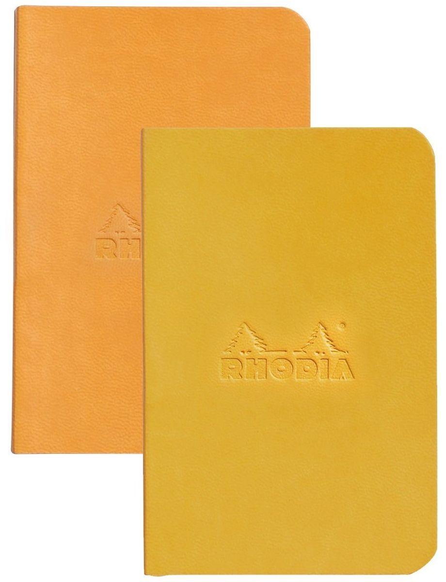 Rhodia Записная книжка 80 листов в линейку цвет оранжевый желтый 2 шт117215CЯркий мини-комплект из 2-х записных книжек в мягкой обложке из искусственной итальянской кожи со сгруленными краями прекрасно подойдет для повседневных заметок. 160 страниц гладкой бескислотной линованной бумаги (целлюлоза 100%) цвета слоновой кости плотностью 90 гр/м2 в каждом блокноте. Также у блокнота есть шелковая закладка.