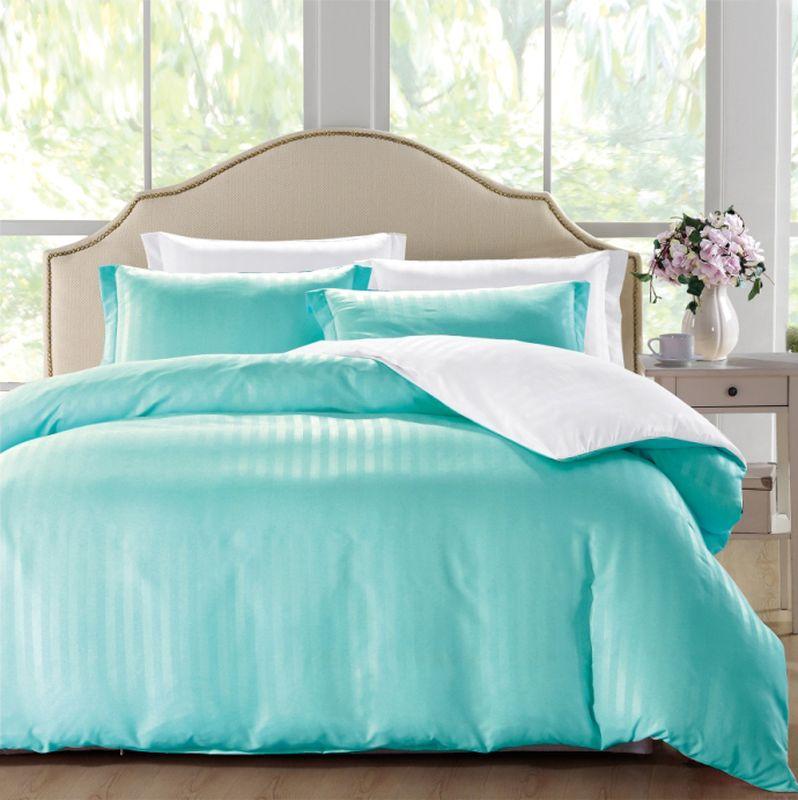 Комплект белья ЭГО Авила, евро, наволочки 70x70, цвет: голубойЭ-2045-03