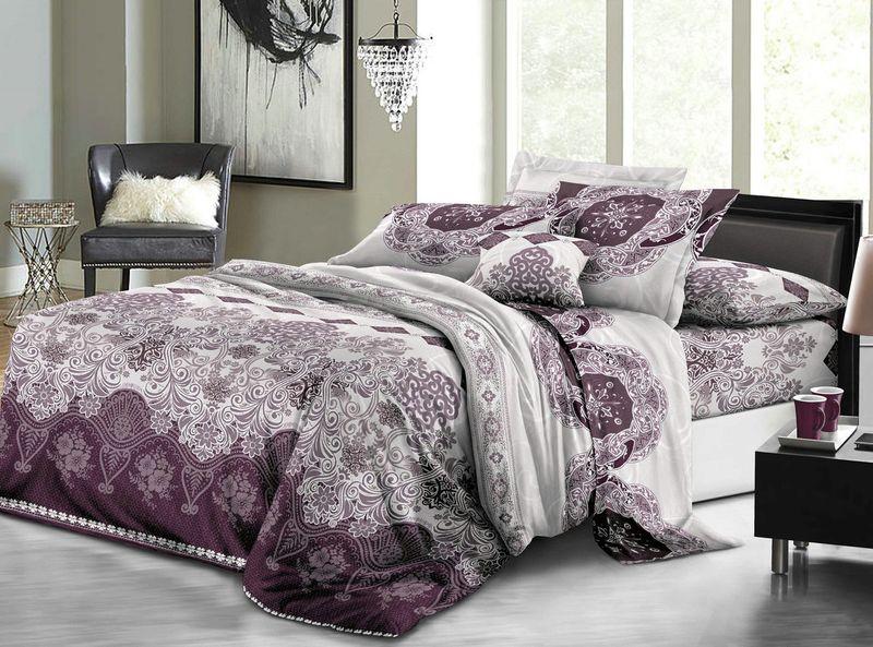 Комплект белья ЭГО Виктория, 2-спальный, наволочки 70х70, цвет: фиолетовый