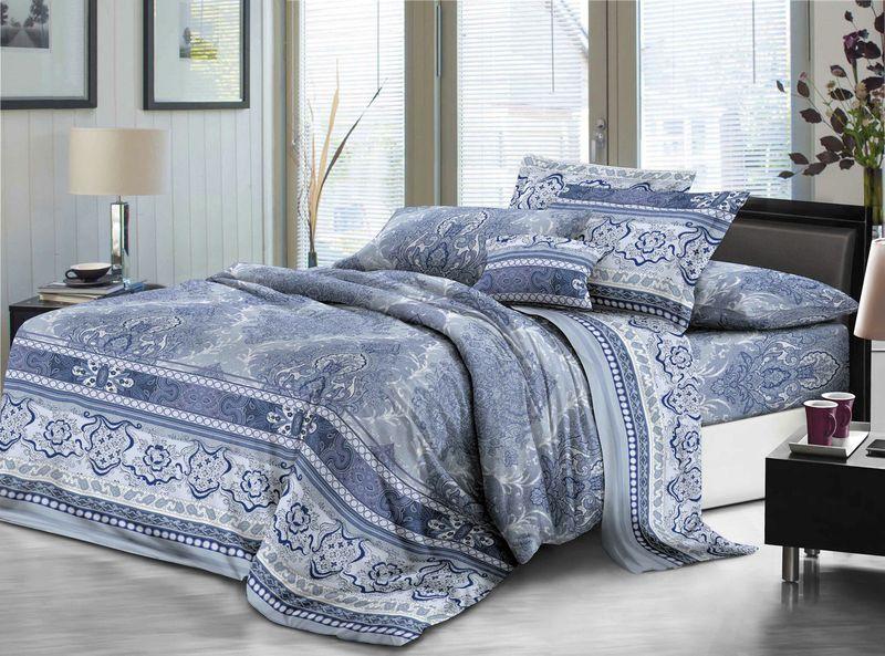 Комплект белья ЭГО Мерида, 1,5-спальный, наволочки 70x70, цвет: синий