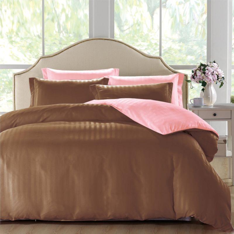 Комплект белья ЭГО Мурсия, 2-спальный, наволочки 70х70, цвет: коричневый