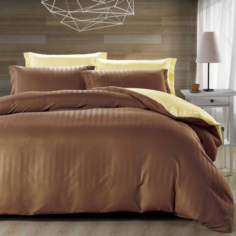 Комплект белья ЭГО Олита, 1,5-спальный, наволочки 70x70, цвет: коричневый, желтыйЭ-2050-01