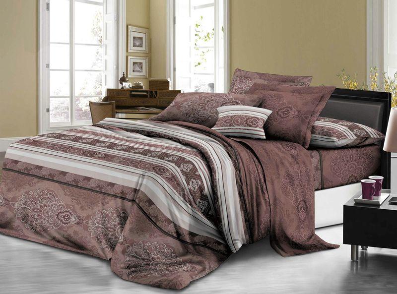 Комплект белья ЭГО Самора, евро, наволочки 70x70, цвет: коричневыйЭ-2051-03