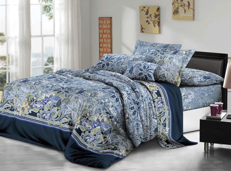 Комплект белья ЭГО Толедо, 1,5-спальный, наволочки 70x70, цвет: синий