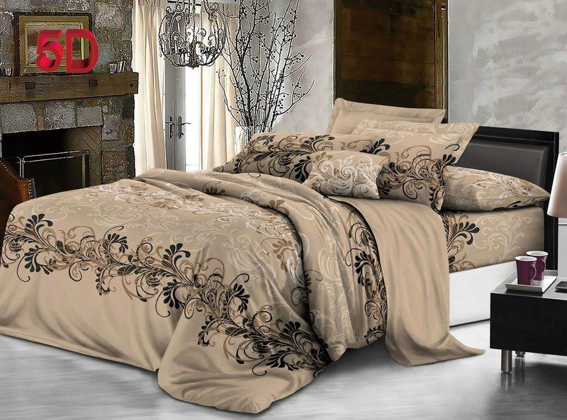 Комплект белья ЭГО Эвора, 1,5-спальный, наволочки 70x70, цвет: бежевый