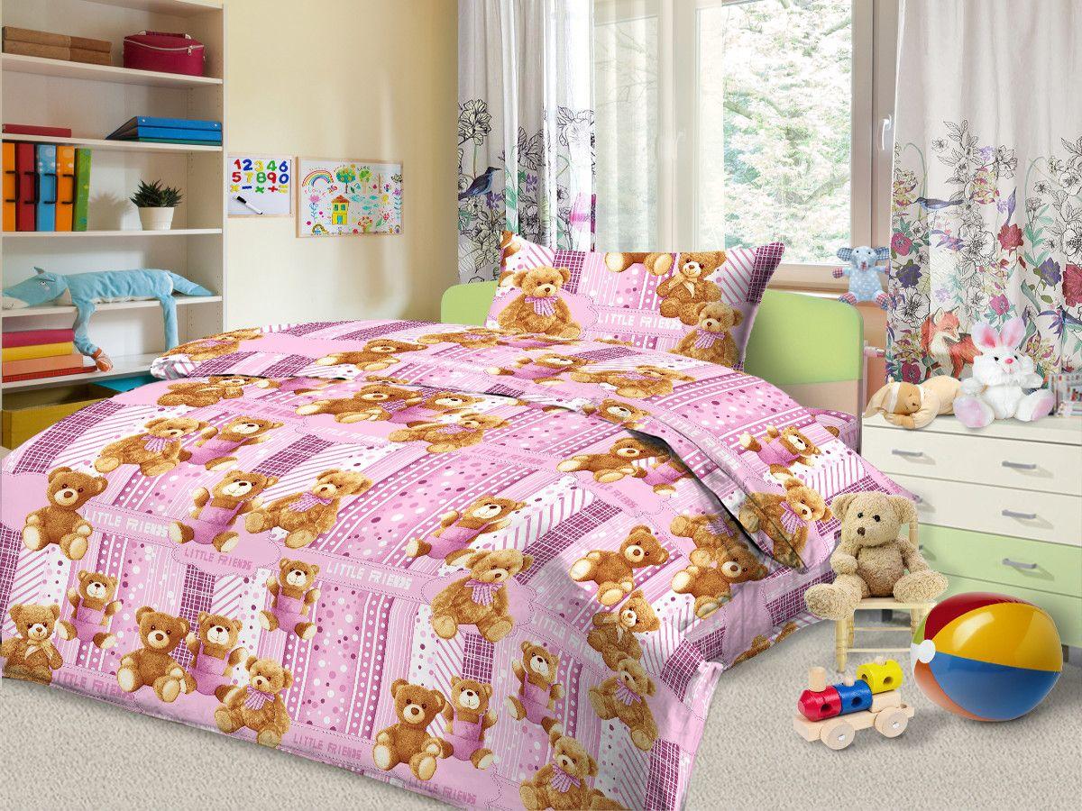 Cleo Комплект в кроватку Маленькие друзья 3 предмета цвет розовый